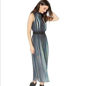 BCBGMaxAzria Pleated Striped Midi Dress